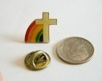 Rainbow Cross Enamel Tack Pin Tie Tack Lapel Pin