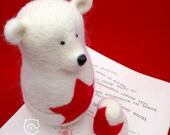 "Felt Matryoshka-doll-Bear ""Daddy and Son"". Needle felt. 100% Wool!"