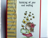 Cute Handmade Card, Little Girl with Butterflies, Valentine,  Just Because, Thinking of You Card, Greeting Card, OOAK Card, Penny Black Mimi