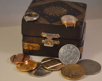 Vintage wooden ,jewelry box,treasary box...WITH treasure....all in photos
