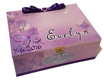 Delightful Purple Butterflies Keepsake Box