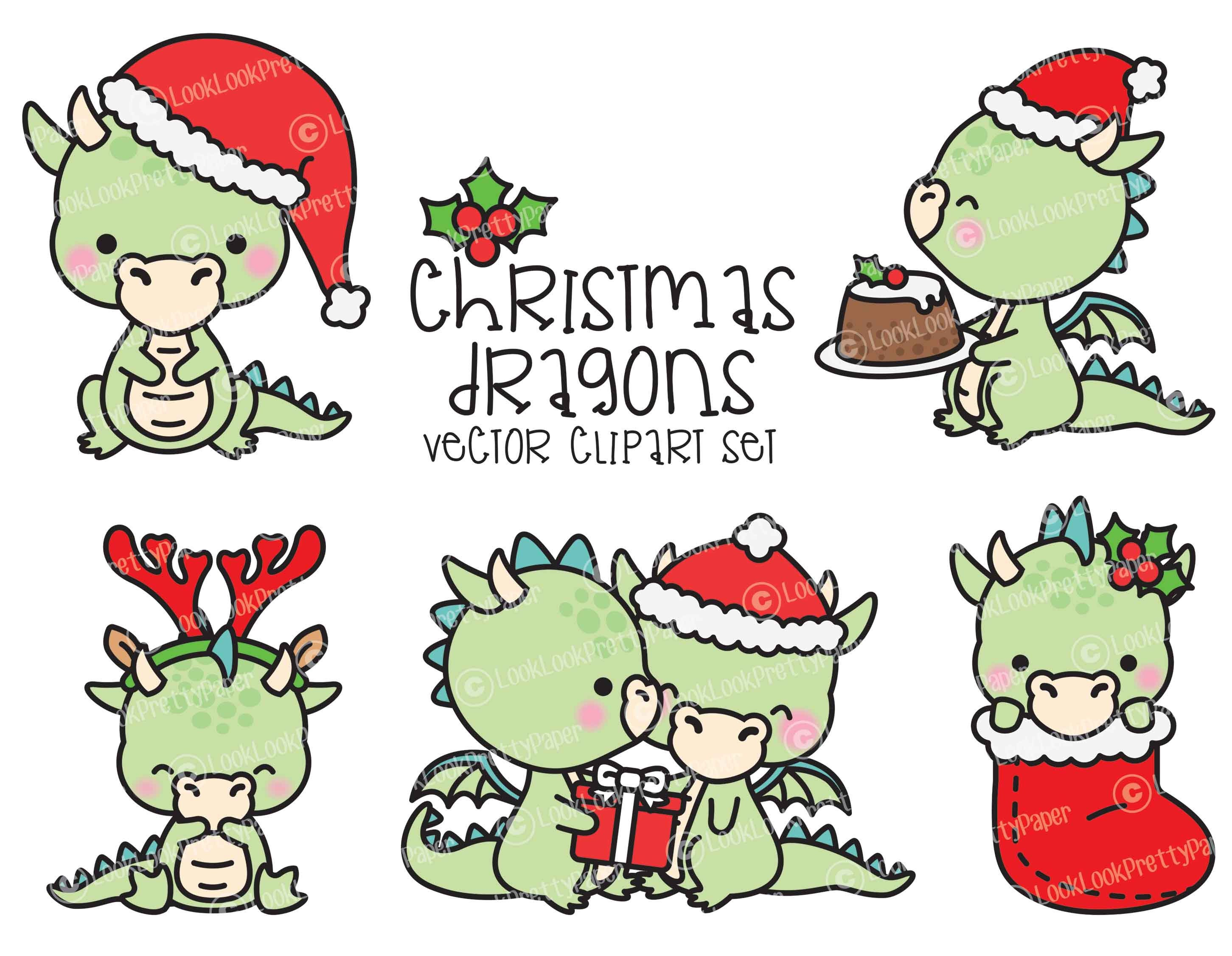 Premium Vector Clipart Kawaii Christmas Dragons Cute