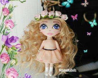 Rag dolls Cloth dolls Fabric Dolls Soft Toys Stuffed Toys Christmas gifts for daughter Charm Dolls Bag charms KeyChain dolls Ooak art dolls