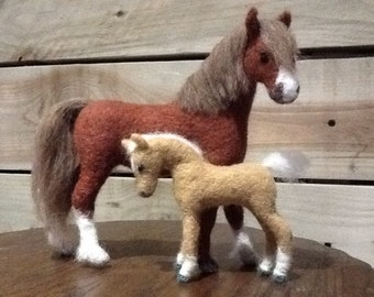 Needle felted Mare and Foal