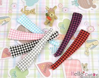 Blythe Pullip Knee Socks (Smooth/Thin & Elastic Fabric) Grid Pattern