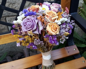 Dried flower bouquet. Wedding rustic flower bouquet, Natural flower decor , Rustic bouquet.
