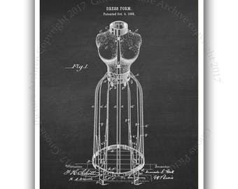 Sewing room wall decor one unframed dress form patent art dress form print #1