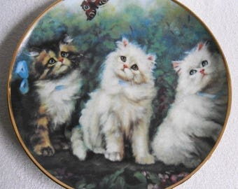 Beautiful collectible-Cats-Meadow trio-Adrienne Lester-Vintage CAT/cats collector plate