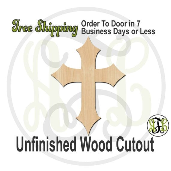 """Cross 3- 2"""" to 6"""" Minis- 290034- Small Wood Cutout, unfinished, wood cutout, wood craft, laser cut, wood cut out, ornament"""