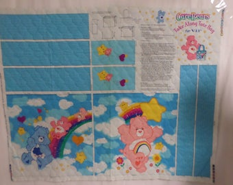Care Bears take along tote bag for VIP Quilted  fabric panel to sew out of print and very rare and very colorful.