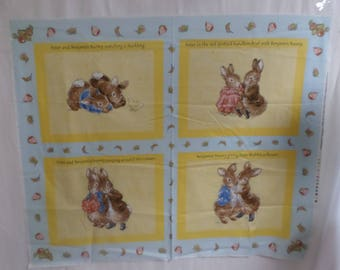 Beatrice Potter Fabric panel of Peter Rabbit and Benjamin Bunny to make a baby quilt or wall hanging RARE.