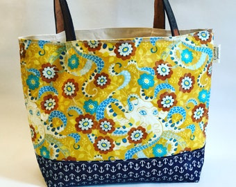 Yellow Octopus tote