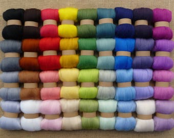 Needle felting wool - 36 mixed colours (VERY SOFT)  needle felting wool pack - merino felting wool pack - bag of felting wool merino tops