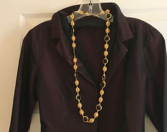 St.John necklace  vintage gold and black, 32 inches.designer Marie Grey