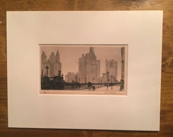 A rare drypoint etching by Samuel Chamberlain - A drizzly morning in Chicago -  79/100