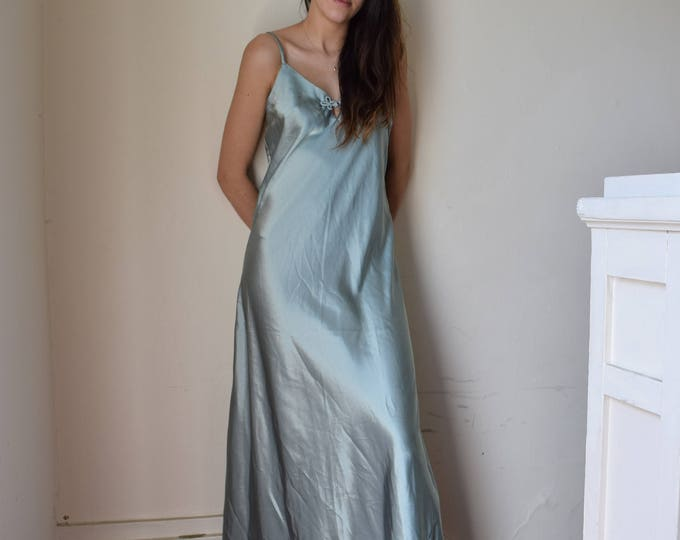 Emerald Satin Floor Length Slip Dress