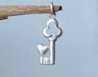 Vintage Sterling Silver Key Charm Small  Key and Heart Silver Charm 925 Key, Retro Heart 70's Jewelry, Silver Heart Minimalist Key Jewelry