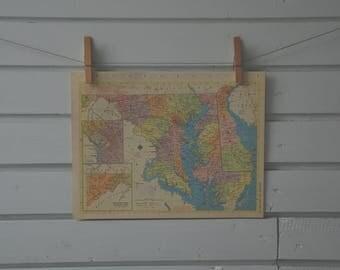 1956 Vintage Maryland & Delaware Map