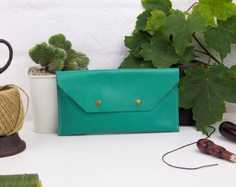 Mint green leather clutch bag, leather clutch, minimalist clutch bag, green leather purse, leather bag, womens clutch, leather pouch
