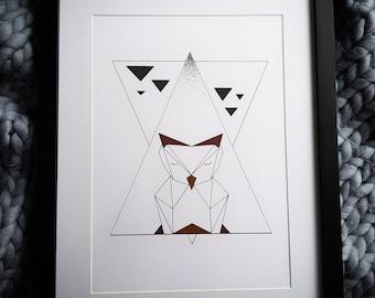 Mr Owl A4 Geometric Owl Artwork