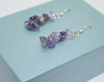 Amethyst Earrings, February Birthstone Jewelry, Birthstone Earrings, Drop Earrings, Birthday Gift, Sterling Silver Earrings, Purple Earrings