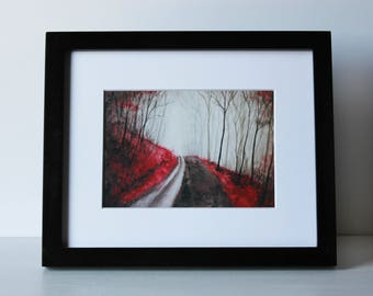Foggy Red Forest Art Print