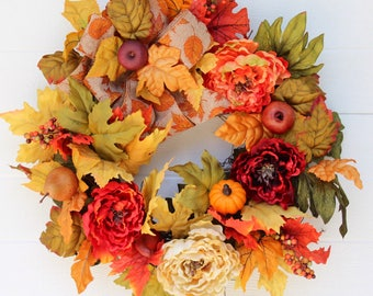Fall Wreath for Front Door, Thanksgiving Wreath, Fall Peony Wreath, Harvest Wreath, Autumn Wreath, Wreaths, Fall Decor, Fall Door Wreath