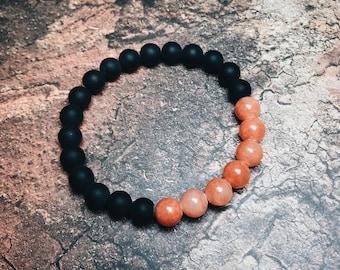 Coral Jade & Matte Onyx Bracelet, Men's Bracelet, Women's Bracelet, 8mm Stone Bracelet, Gemstone Bracelet.