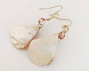 Handmade Earrings, Shell Dangle Earrings, Shell and Czech Glass Bead Earrings, Wire Wrapped Earrings