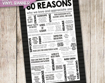 Adult Milestone 50th 60th 70th HUGE 2.5 x 4ft Birthday Banner | 50 60 70 Reasons Why We Love & Appreciate You