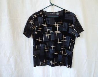 SALE 90s Black Velvet And Gold Glitter T-Shirt
