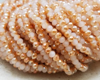 4mm , Peach Two Tone Hydro - Quartz , 17 Inch