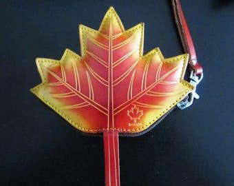 Genuene Leather Canada Maple Leaf Shape Coin Purse Wallet Wristlet Handmade