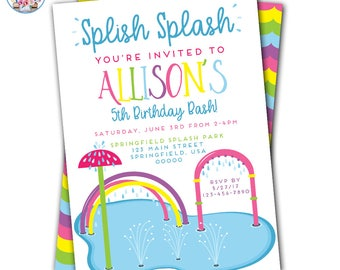 Splish Splash Birthday Invitation, Splish Splash Invitation, Splash Party Invitations, Splash Party, Splash Pad Party, Splash Park Party