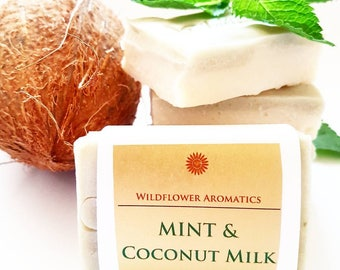 Mint & Coconut Milk soap, handmade soap, natural ingredients