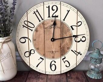 16 inch farmhouse clock small rustic wall clock unique wall clock clock