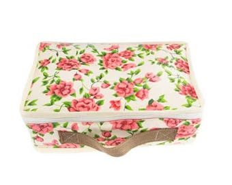 VINTAGE suitcase in floral fabric