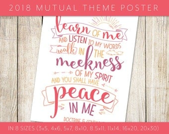"""2018 LDS Mutual Theme """"Peace in Christ"""" Pink Poster in 8 Sizes Doctrine & Covenants 19:23 Scripture Printable Youth Young Women Young Men"""