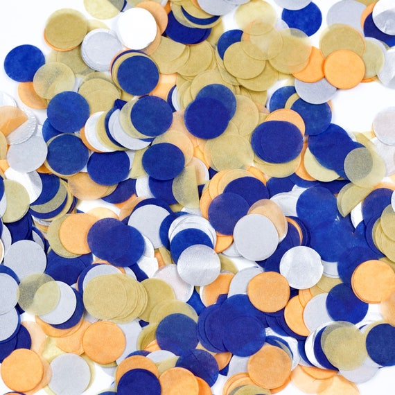 Wild One Confetti, Navy Silver Orange Confetti, Shred, Table Decor, Confetti Balloon, First Birthday, Boy Birthday, Baby Shower, Wild Decor