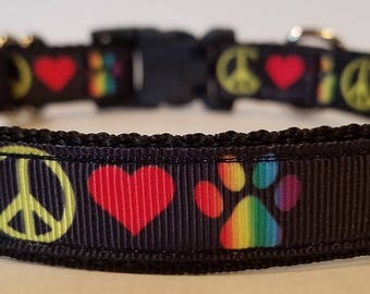 Peace, love & dogs Dog collars