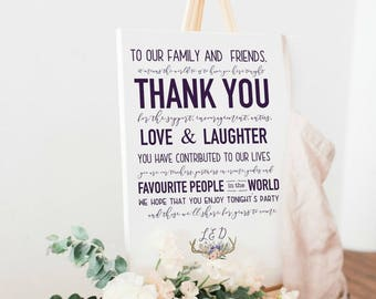 Wedding Thank You Sign, To Our Family and Friends Wedding Ceremony Sign Personalized, Wedding Reception Sign, Choice of Colour Available
