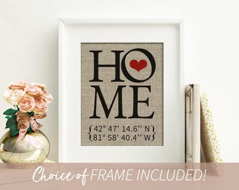 Home Sign Decor Home Sign Personalized Gift For Mom Custom Coordinates Coordinates Sign