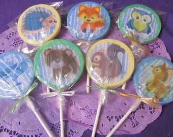 Woodland forest animals chocolate lollipops