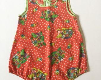 Vintage Groovy Turtle Romper Girls Sz 18 24 months