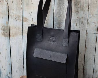 Black leather classical tote bag - leather tote - genuine leather tote - leather tote bag with front pocket - black leather tote
