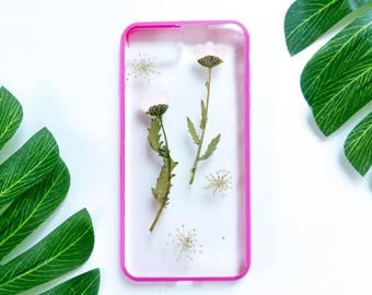 Pressed Flower iPhone Bumper Cases for iPhone 7 Plus, Real Flower iPhone 7 Plus Case, Pressed Flower iPhone Case, iPhone Bumper Case