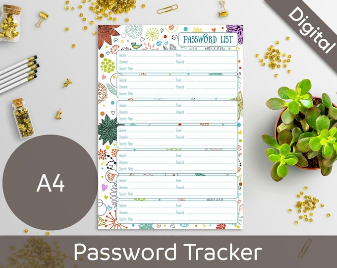 A4 Password Book, Password List, Log, Keeper, Tracker, Journal, Printable Refill Insert, Syasia Cute Floral DIY Planner PDF Instant Download