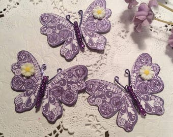 Purple Swirl & Daisy Fuchsia Glass Bodied Butterflies DarlingArtByValeri Set for Scrapbooking Embellishment Mini Albums Cards Wedding Gifts
