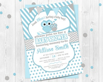 Boys, Owl Baby Shower Invitation, Blue Owl Invitation, Chevron Baby Shower Invitation, Baby Owl, Owl, Blue, Polka Dots, Owl baby shower