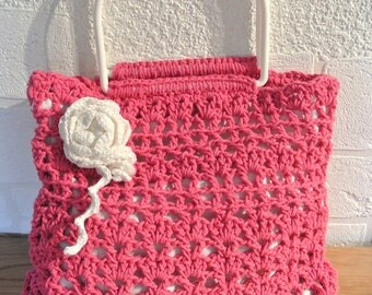 Fuchsia Cotton Crochet Basket with White Handles